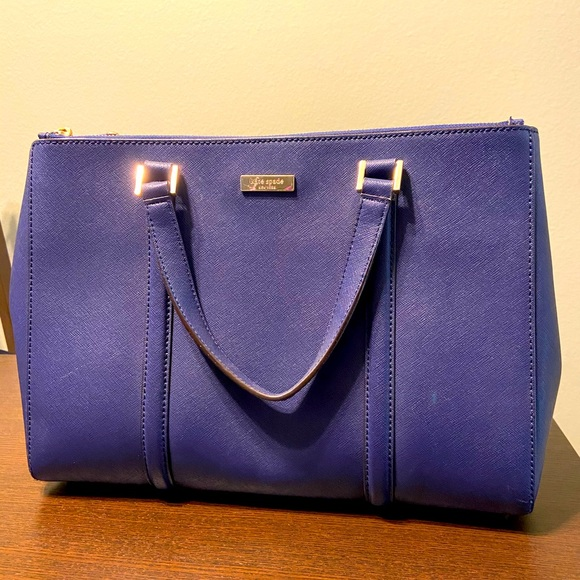 Kate Spade large leather satchel blue and gold